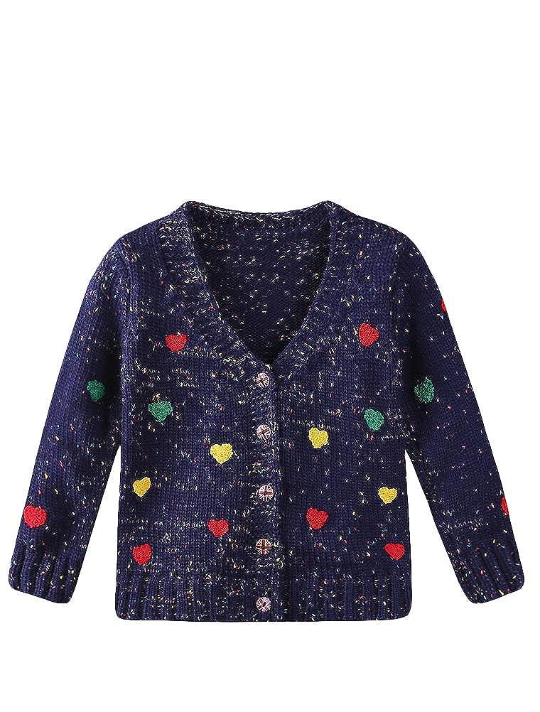 Mallimoda Little Girls Long Sleeve Knit Cardigan V Neck Button Sweaters Coat