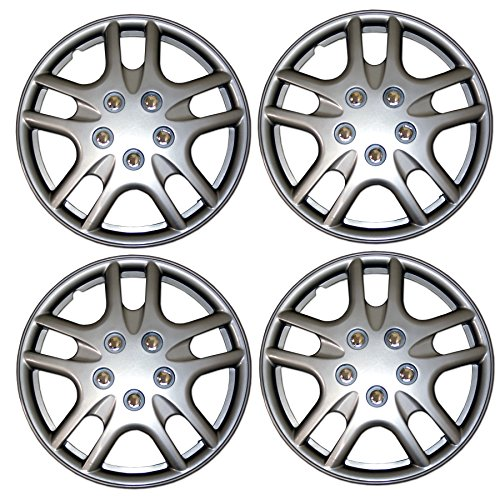 TuningPros WSC3-523S15 4pcs Set Snap-On Type (Pop-On) 15-Inches Metallic Silver Hubcaps Wheel Cover - Dodge Neon Hubcap