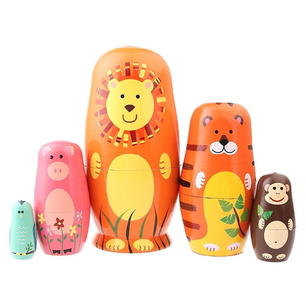 SUNONE11 5pcs Cartoons Nesting Dolls Animal Figures Bear Tiger Pig Monkey Bird Handmade Wooden Russia Matryoshka Home Decoration Thanksgiving Toy Gift
