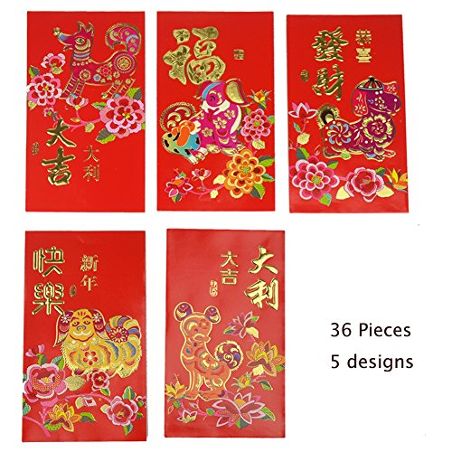 Lanyani Pack of 36 Chinese Red Envelopes Hong Bao Lucky Money Gift Envelopes Red Pocket for 2018 Chinese New Year,5 Designs, 9x16cm (Set-1)