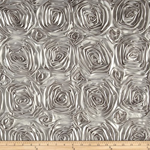 Ben Textiles 0450385 Wedding Rosette Satin Silver Fabric by The - Rosette Silver