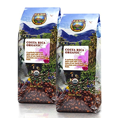 Java Planet - Costa Rican USDA Organic Coffee Beans, Dark Roast, Arabica Gourmet Coffee Grade A, packaged in 2 - 1 LB bags