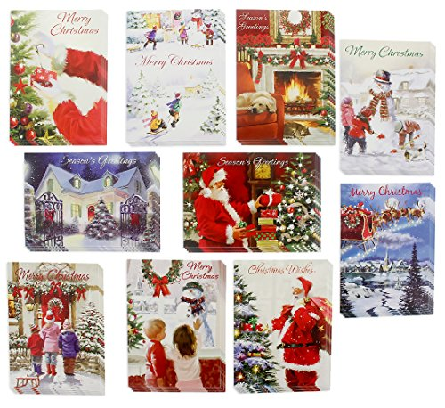 """Christmas Holiday Traditional Greeting Cards Boxed Set with Envelopes Featuring Santa, Snowman, Snow Scenes, Multicolor, Red, White, Blue, Green - 40 Count, 5"""" x 7"""""""