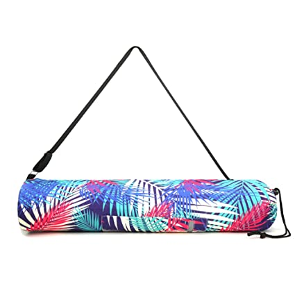 LATH.PIN Yoga Mat Bag Exercise Yoga Mat Sling Bag Drawstring Carrier Long Breathable Canvas Yoga Sling with Multi-Functional Storage Pockets Fits Most ...