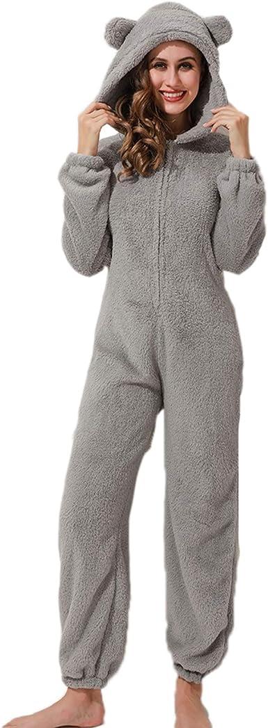 Mujeres Otoño e Invierno Pijamas de una Pieza Mono de Felpa ...