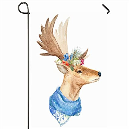 "1319bbeda Ahawoso Outdoor Garden Flags 12""x18"" Inch Profile Abstract  Watercolor Christmas Deer Wreath Wildlife"