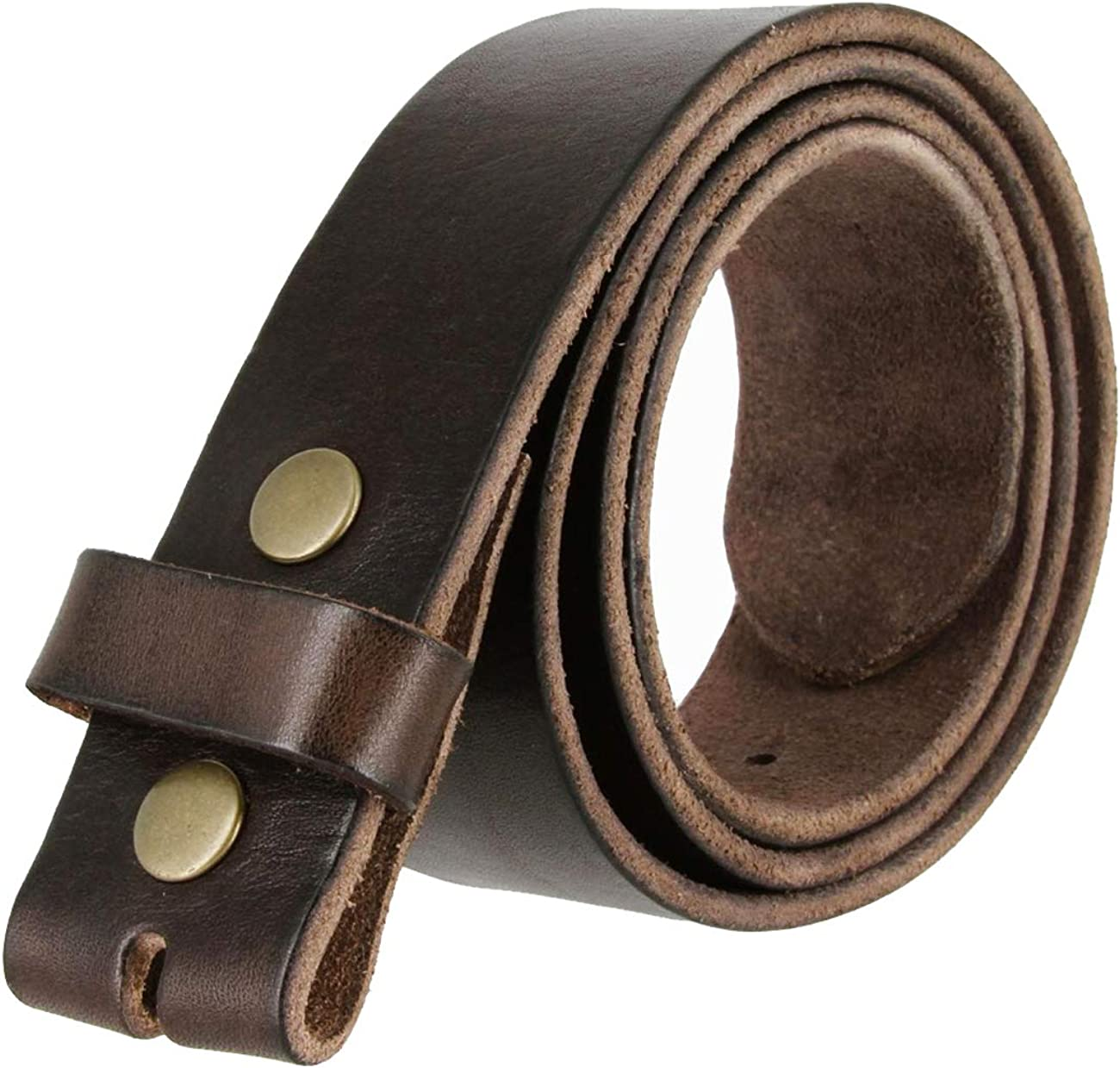 """BS-40 100% Full Grain Leather Replacement Belt Strap with Snaps 1 1/2"""" wide"""