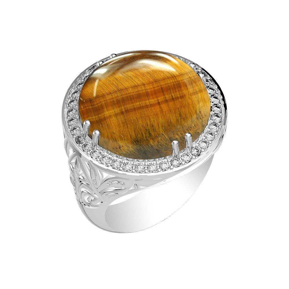 15.15ct, Genuine Tiger Eye Round & .925 Silver Overlay Cocktail Solitaire Ring Size-10