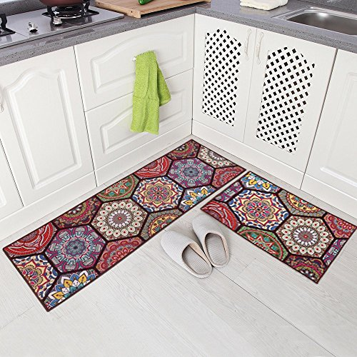 Carvapet 2 Piece Non-Slip Kitchen Mat Runner Rug Set Doormat Vintage Design Baroque Style,Purple (20