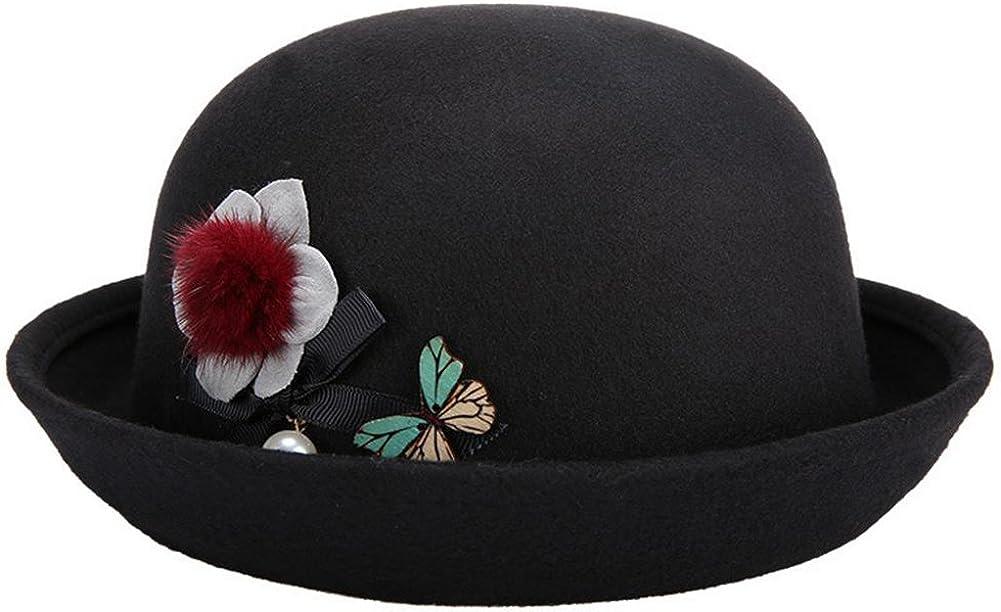 Leisial/™ Damen Pork Pie H/üte Winter Warm Halten Damen Hut mit Blumen und Schmetterling Braun 57CM