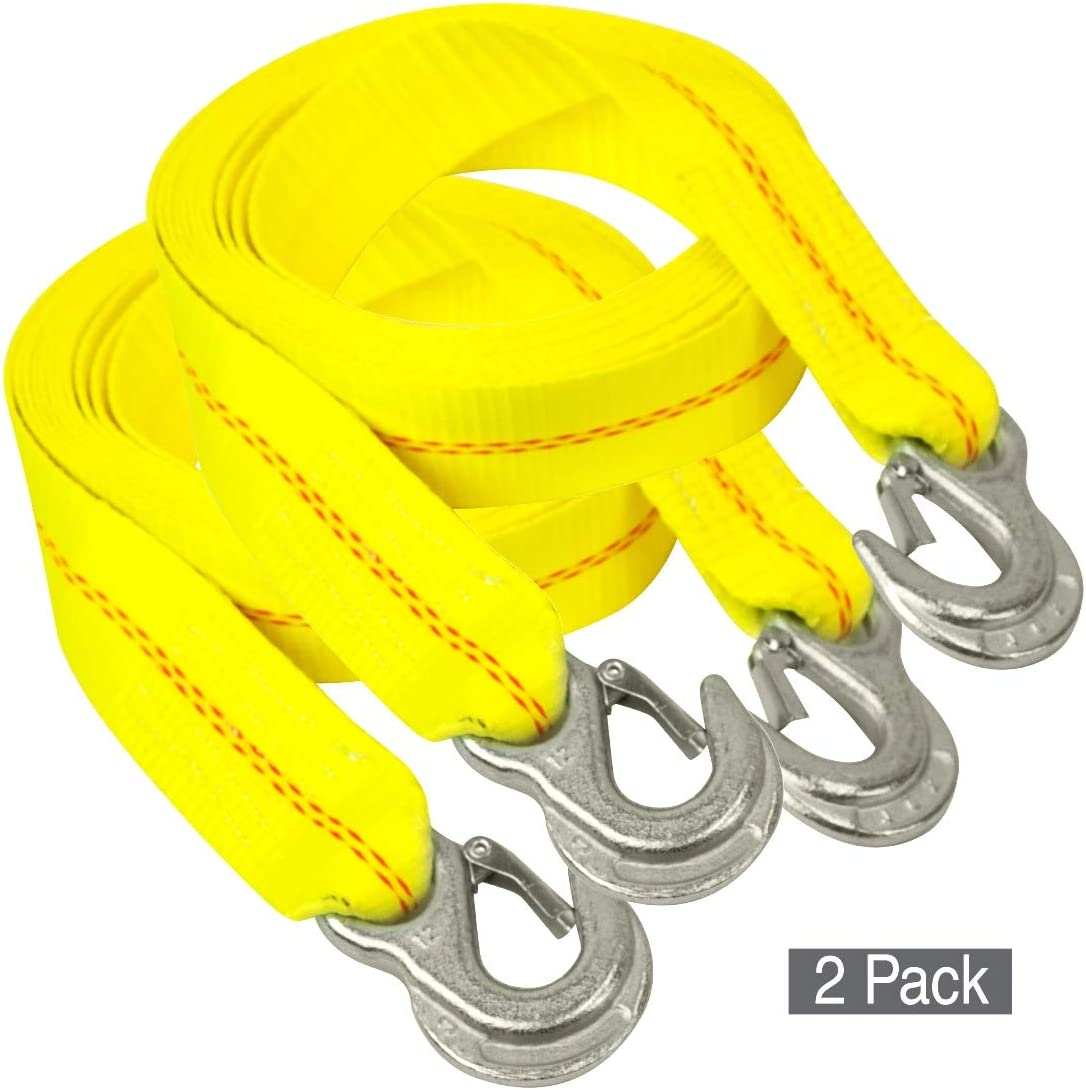 3,000 Pound Safe Working Load 2 Pack 2 Inch x 15 Foot VULCAN Tow Strap with Snap Hooks