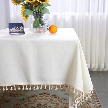 HOMEJYMADE Nappe De Couleur Unie Tassel,Couverture De Linge De Table Ronde  Coton Poids Lourds