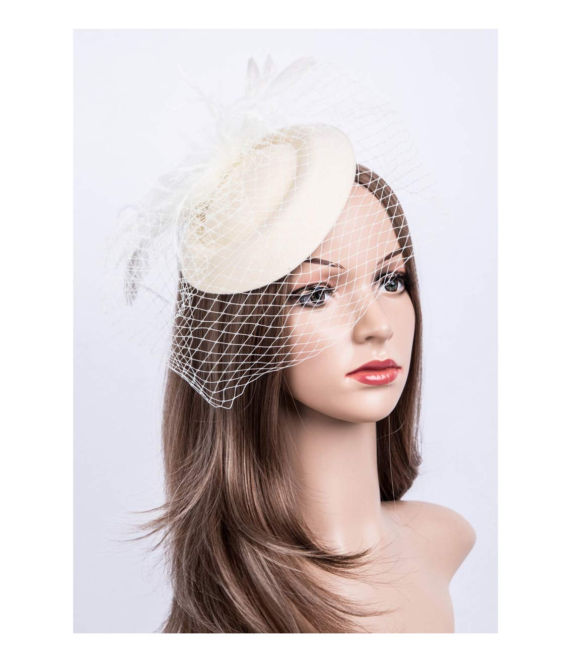 Fascinators Hats 20s 50s Hat Pillbox Hat Cocktail Tea Party Headwear with Veil for Girls and Women (B-Beige)