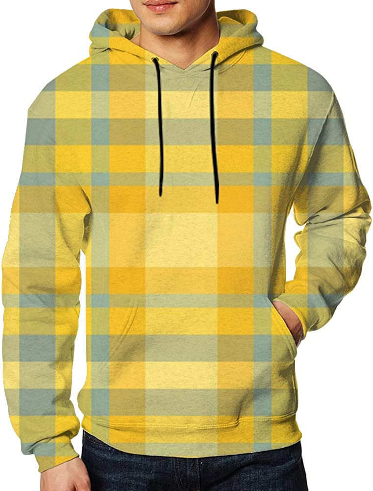 Yellow Green Plaid Mens Drawstring Hooded Classic Sweatshirts