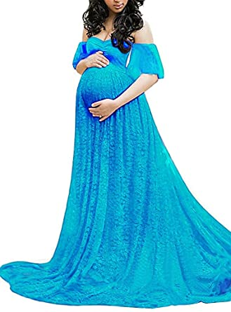 9e539f93142b4 Women's Off Shoulder V Neck Ruffle Short Sleeve Floral Lace Maternity Gown  Ruched Dress Baby Shower