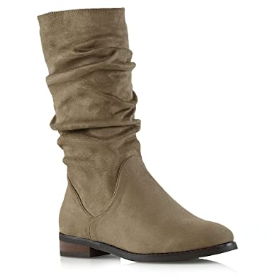 13a31397c9a ESSEX GLAM Womens Mid Calf Slouch Boots Ladies Khaki Faux Suede Winter Ruched  Shoes 5 B
