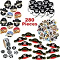 Pirate Party Supplies for Boys and Girls | 280 Birthday Party Favors Decorations for 12 Kids | Pirate Hat, Eye Patch, Stickers, Tattoos | The Perfect Party Pack for 1st - 50th Birthday Celebrations!
