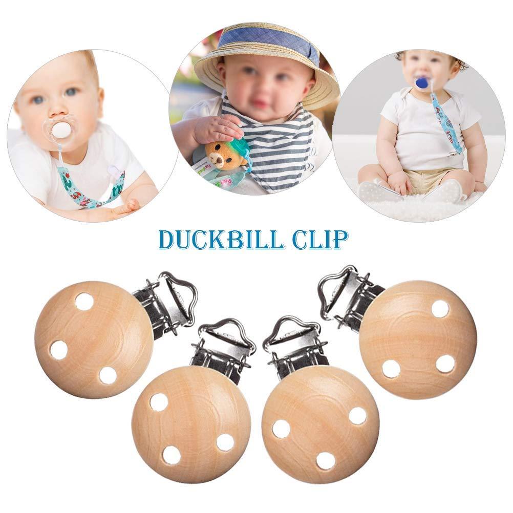 Baby Schnuller Clips 16 St/ücke Holz Schnullerclip 44mm schnullerketten clip,Dummy Nippel Halter f/ür Baby und Kind