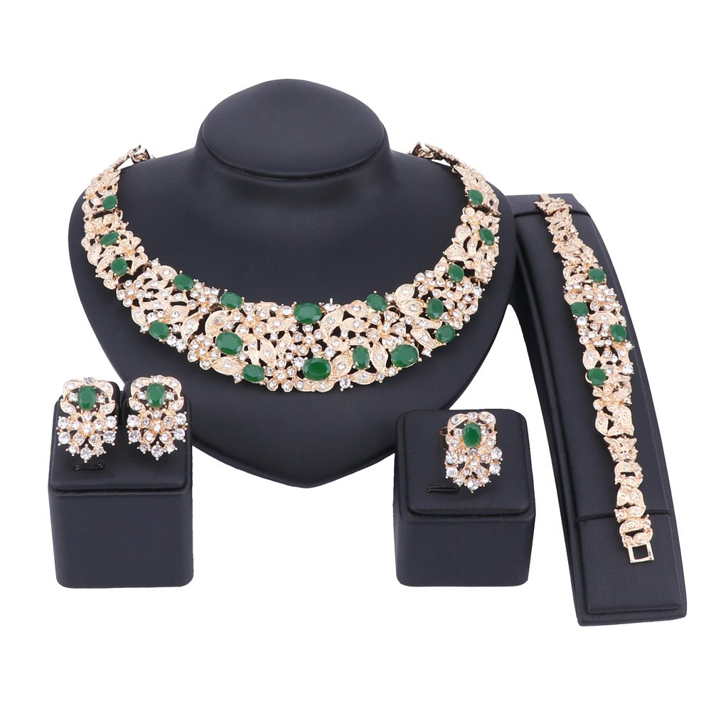 Women Bridal Fine Crystal African Beads Jewelry Sets For Wedding Party Dinner Dress Necklace Earring Bangle Ring Kit Gift (Green) by WANG (Image #2)