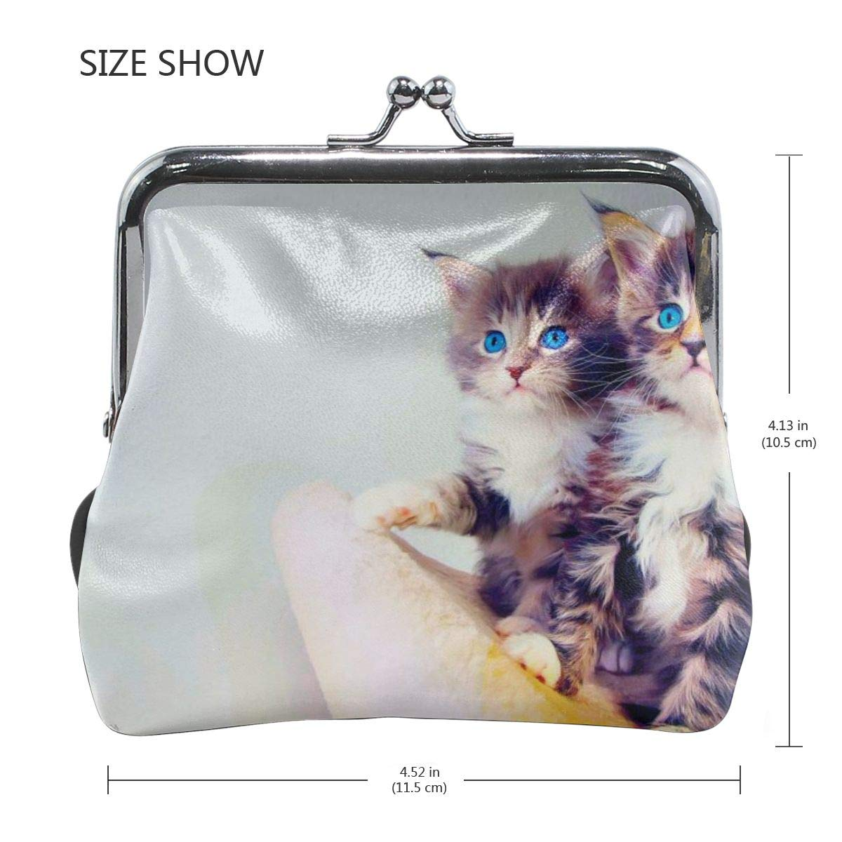 Poream Animal Cat Kitten Retro Leather Cute Classic Floral Coin Purse Clutch Pouch Wallet For Girls And Womens