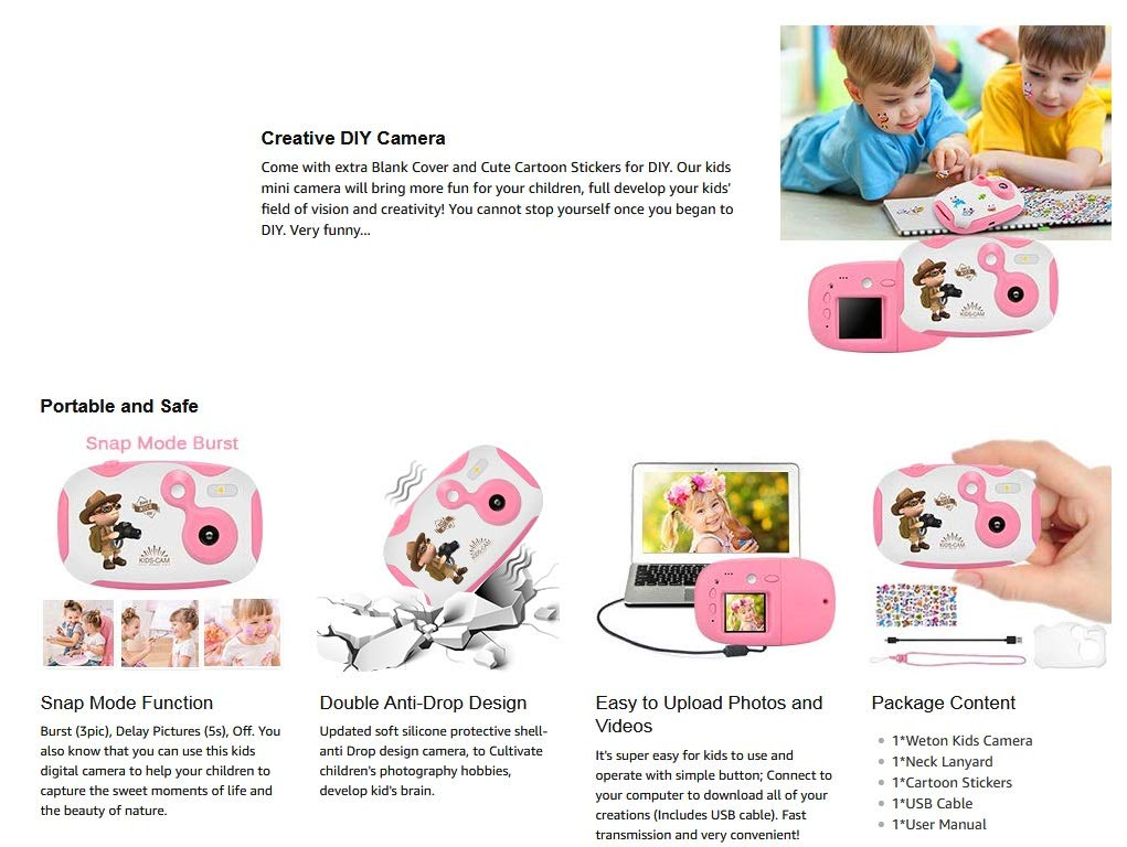 DishKooker 1.44 inch Digital Video Camera for Kids 1080P HD Sports Learn Mini Camera Camcorder for Boys Girls Pink by DishKooker (Image #8)