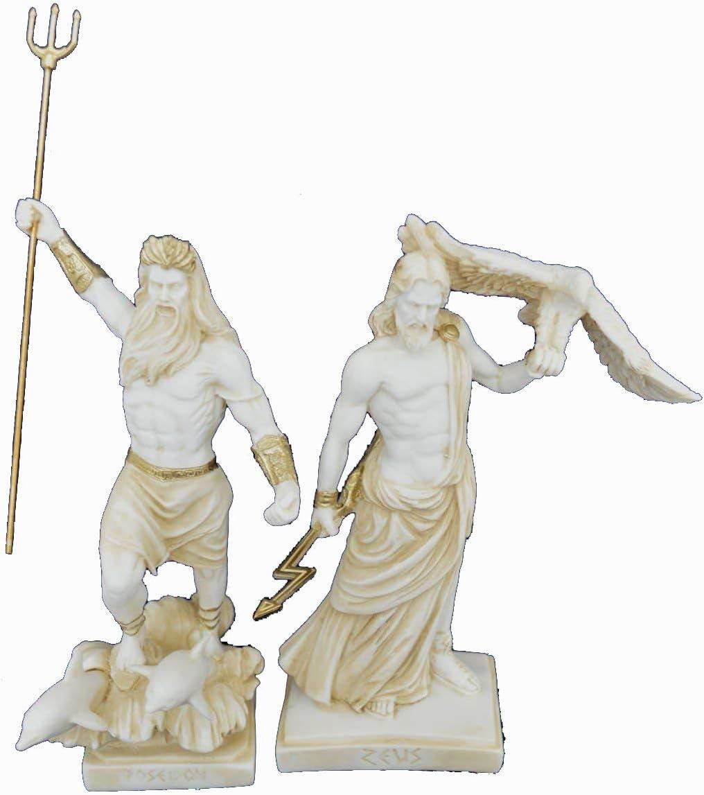 Amazon Com Estia Creations Zeus And Poseidon Sculpture Ancient Greek Gods Aged Statue Set Home Kitchen