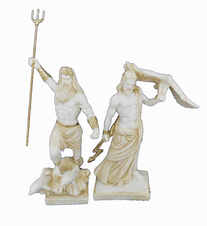 Estia Creations Zeus e Poseidone scultura greca antica Gods invecchiato statue set