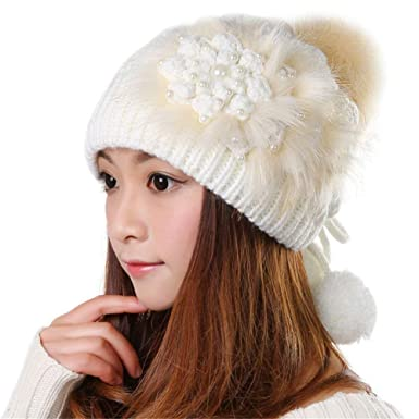 Gorros para Mujer Invierno Cálido De Punto Beanie Cap Hat Bastante ...