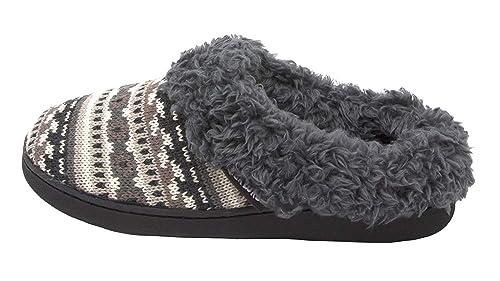 a41fa5be24e8 MUK LUKS Women s Knit Clog Slipper with Faux Fur Trim (Small   5-6