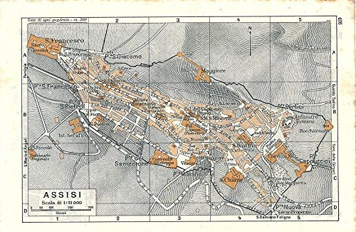 Amazon Com Assisi Italy 1948 Color Lithograph City Street Plan Map
