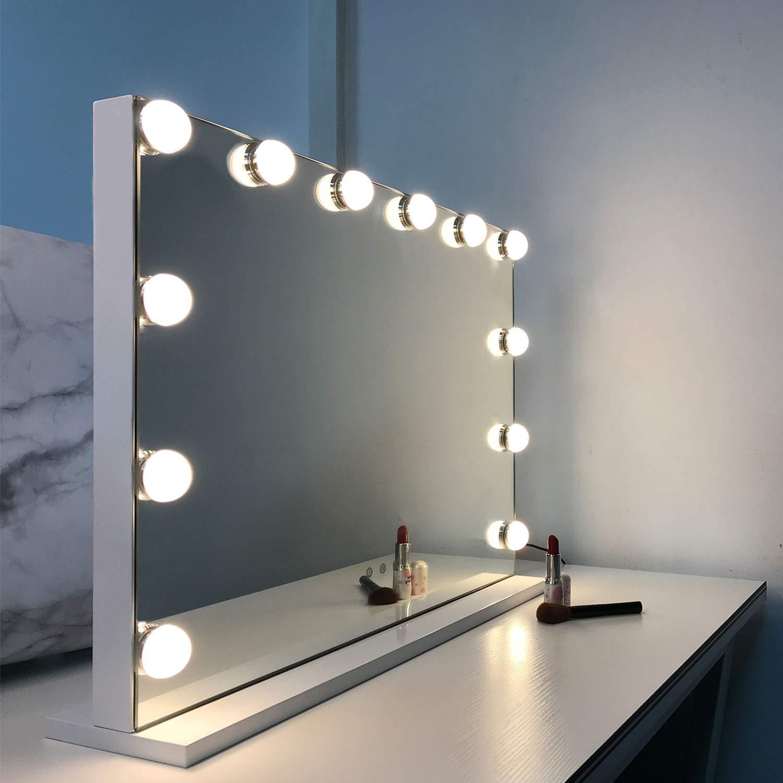 Touch-Steuerung Kosmetikspiegel mit Beleuchtung WAYKING Hollywood Speigel Make-up-Spiegel mit LED-Lichtern Schminkspiegel mit 12 Lichter gro/ßer Kosmetikspiegel mit Dimmer-LED-Leuchten Wei/ß