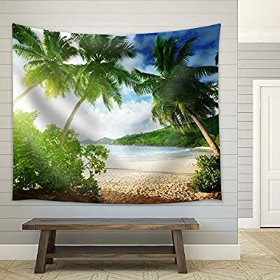 Palm Trees on Clear Tropical Beach - Fabric Tapestry, Home Decor - 51x60 inches