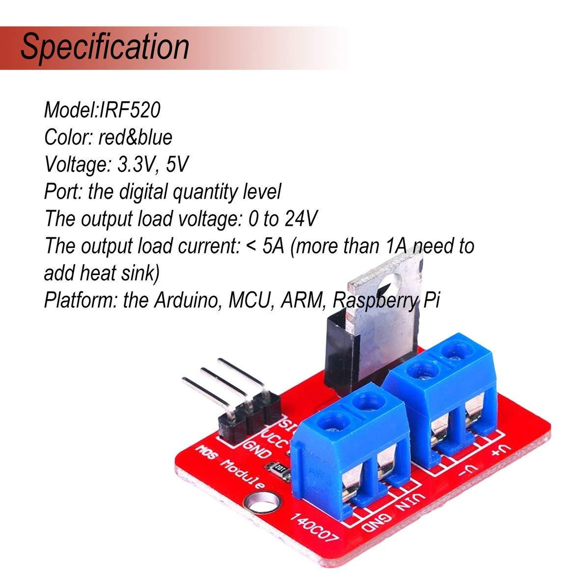 Noradtjcca 0-24 V Top Bouton Mosfet IRF520 MOS Pilote Module Module pour Arduino MCU Bras Raspberry Pi /Électronique Outil De Bricolage Gradation LED