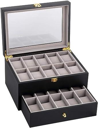 Caja para Relojes de Madera Estuche para Relojes y Joyeros con 2 Capas 20 Compartimentos: Amazon.es: Relojes