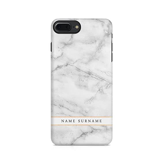 753b1abcfd55e Personalised Customizable First and Last Name Initial Text Custom White  Marble Protective Hard Plastic Case Cover for iPhone 7 Plus/iPhone 8 Plus