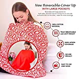 ❤ Full Coverage Multi USE❤ Reversible Nursing Cover Up 100% Cotton Hypoallergenic Lightweight and Breathable Breastfeeding Cover Free Bonus Travel Bag for Baby Breastfeeding Nursing Cover
