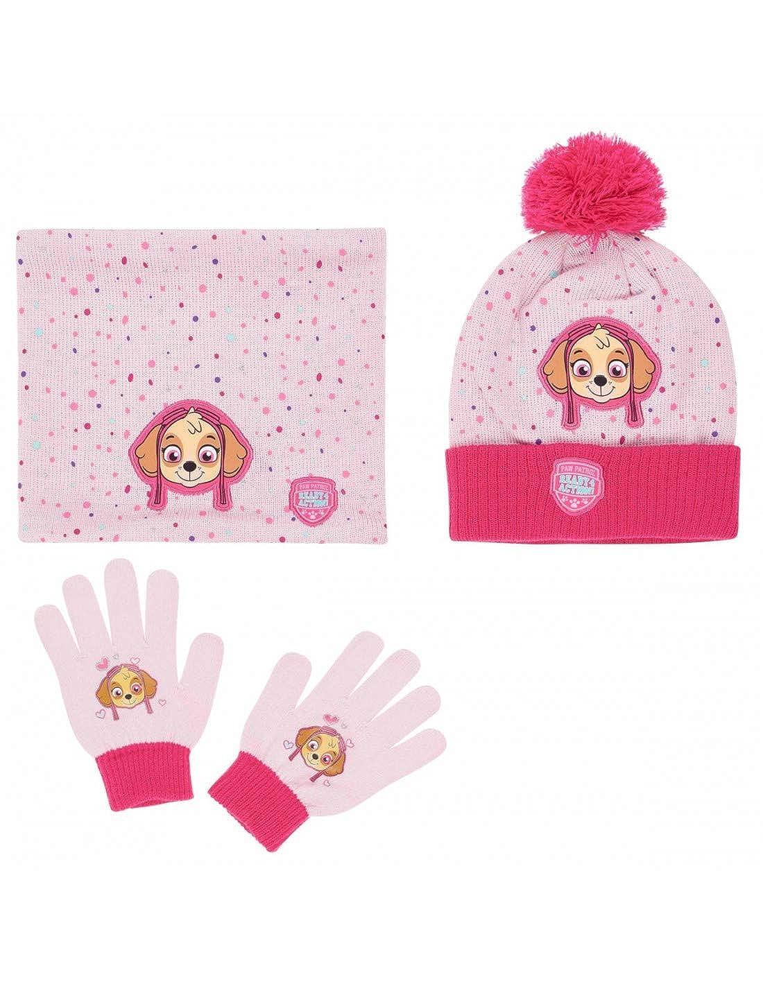 La Pat  Patrouille Ensemble Snood, bonnet et gants enfant fille Rose de 3 à  9ans - Rose, 54 cm (6-8 ans)  Amazon.fr  Vêtements et accessoires 322a4b22aa5