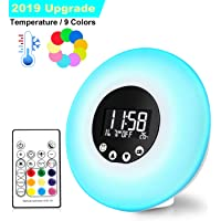 Wake Up Light Sunrise Alarm Clocks Upgrade Remote Control Thermometer FM Radio 9 Changing Colors 51 Alarm Sounds Wake-Up Lights Night Mood Light Sunset Simulation Beside Lamp USB Powered Kids Adult