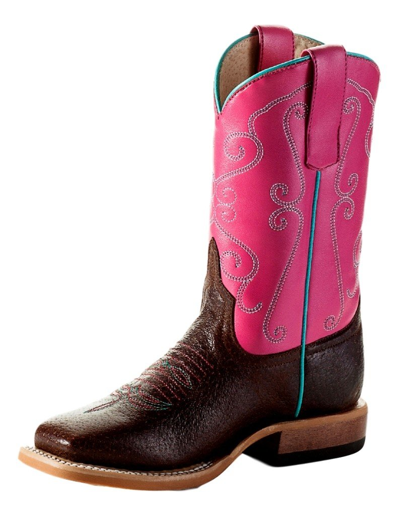 Anderson Bean Boys Brown Mad Dog Pink Wave Cowgirl Boots 10 Child Cocoa Puff Strawberry Shortcake