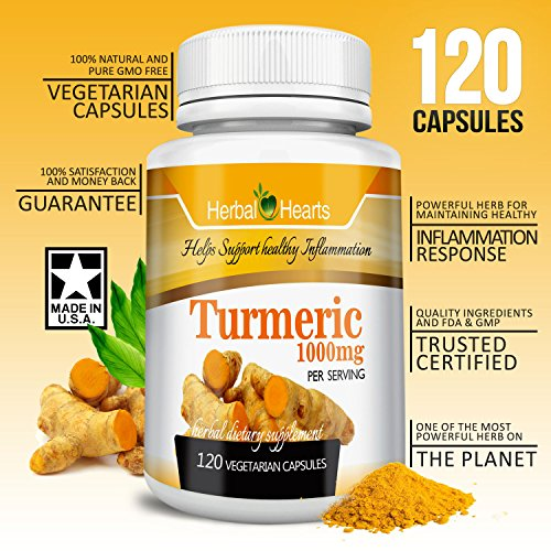 Organic Turmeric/Tumeric Curcumin 1000mg | 100% Pure Extract Vegetarian Capsules | Herbal Hearts Premium Tumeric Non-GMO | Most powerful Recommended Supplement (120)