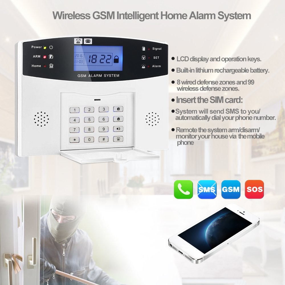 KKmoon Burglar Alarm system LCD Security Wireless GSM PIR Auto Sensor  Motion Detector Home Security Alarm Kits Door/Window Gap Detector:  Amazon.co.uk: DIY & ...