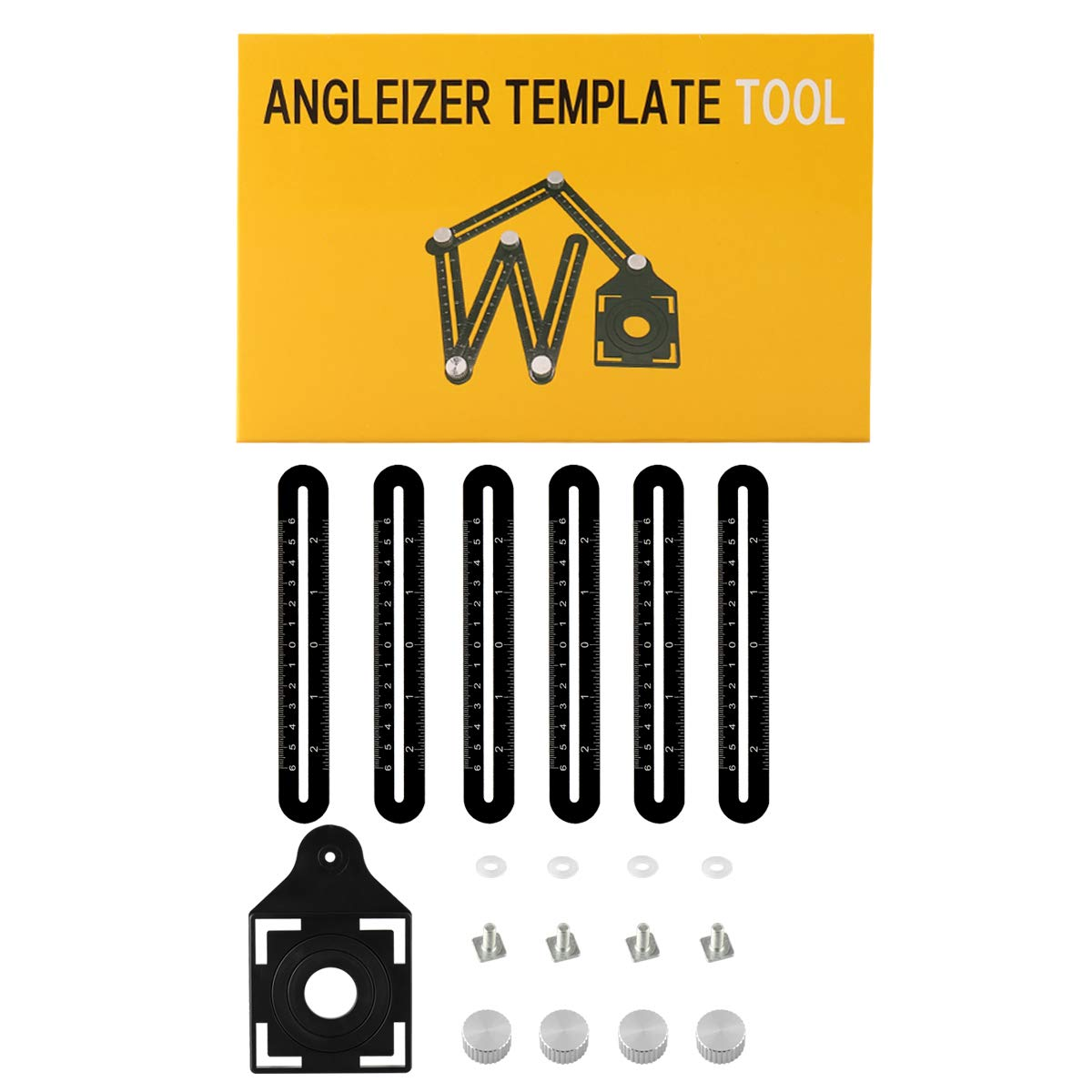 Six Sides JIAN YA NA Angle Template Tool Full Metal Scratch-Proof Multi Functional Ruler Aluminum Alloy Easy Angle Measuring Tool for Builders Roofers Tilers Handymen Craftsmen