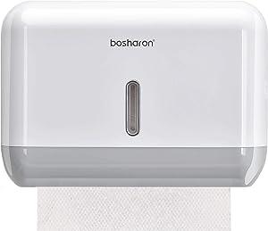 Bosharon Paper Towel Dispenser Wall Mounted, Paper Towel Dispenser for Home Bathroom or Commercial, Hand Towel and Tissue Dispenser (White)