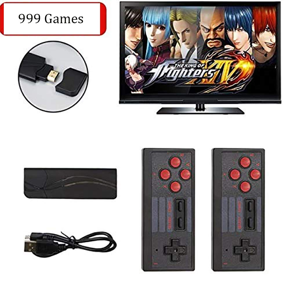 Ideashop Retro Mini Games Console with 2 Wireless Controllers 4K HDMI TV Output Video Classic Game Console Stick Built-in 628 Games for Dual Players Boys Girls Brings Back Childhood Memories