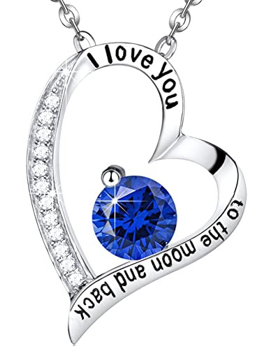 Amazon eldaco mothers day gift anniversary gifts for women for eldaco mothers day gift anniversary gifts for women for wife blue sapphire heart necklace i love aloadofball Gallery