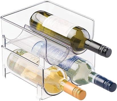 stapelbare Aufbewahrung f/ür Weinflaschen bzw Trinkflaschen f/ür 4 Flaschen ideal f/ür K/üchenschr/änke und Arbeitsplatten mDesign Flaschenregal transparent