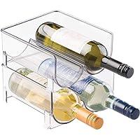 mDesign Portabottiglie Vino Impilabile per Mobile Cucina, Ripiani - Contiene 4 Bottiglie, Trasparente