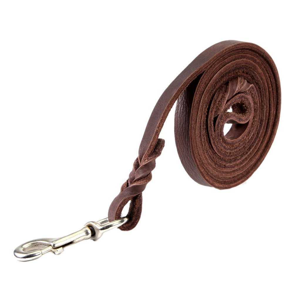 Dogs Kingdom Genuine Leather Braided Brown Dog Leash 4Ft/5Ft/7Ft/8.5Ft Best Lead For Large and Medium Dogs Training Walking Brown/Silver Hook 5/7''7ft by Dogs Kingdom (Image #4)