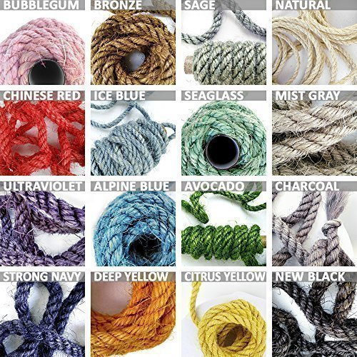 Each Colour - Assorted Color Sisal Rope, Choose 5 Colors, 5' (1.5 m) Each, 25' (7.5 m) Total, 1/4