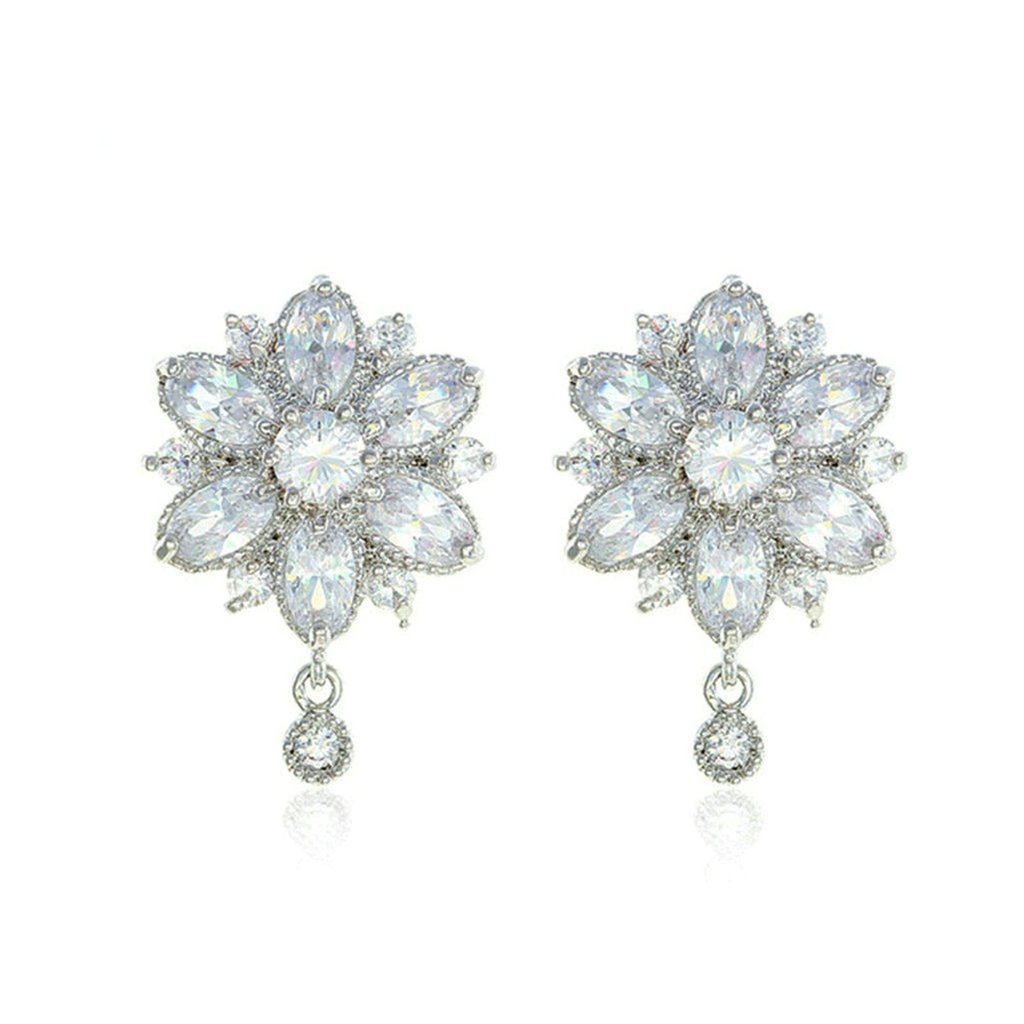 Bishilin Gold Plated Womens Stud Earring Flower White CZ Pave Earrings